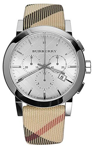 Burberry Mens City Leather Strap Nova Check Watch - Burberry Pattern Check