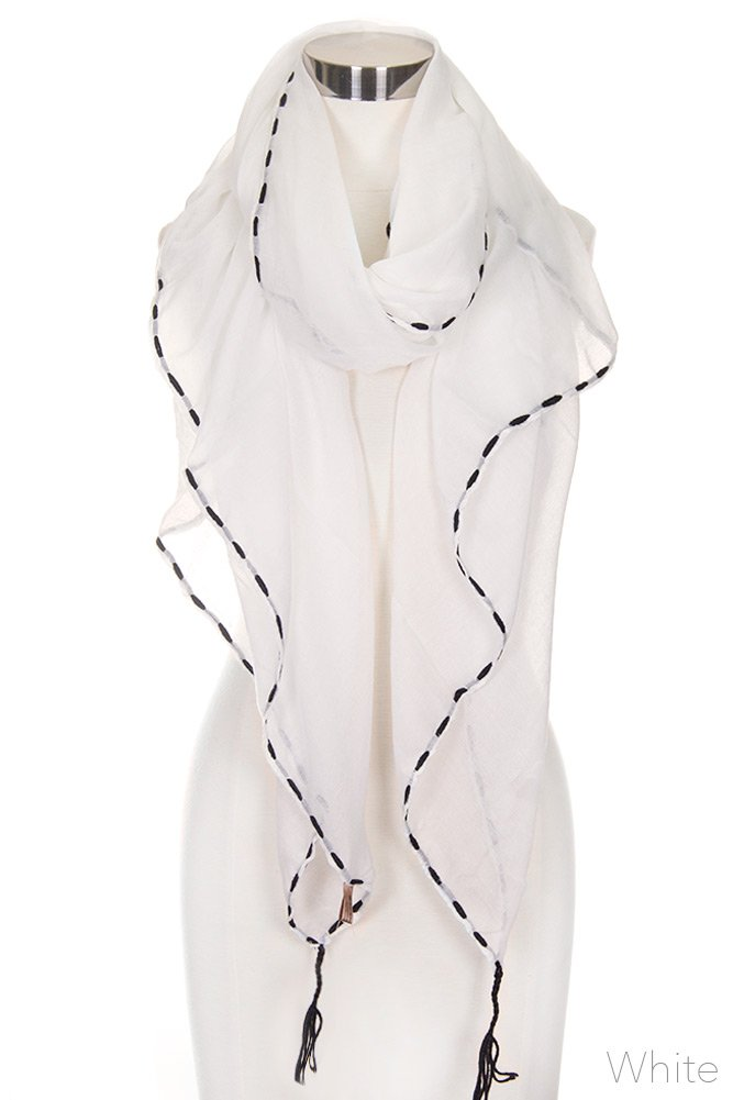 ScarvesMe Women's Solid Color Stitch Embroidered with Tassel Lightweight Oblong Scarf (White)