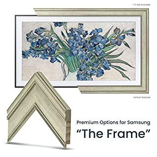 "Deco TV Frames - Antique White Frame for Any Size Samsung The Frame TV (75"")"