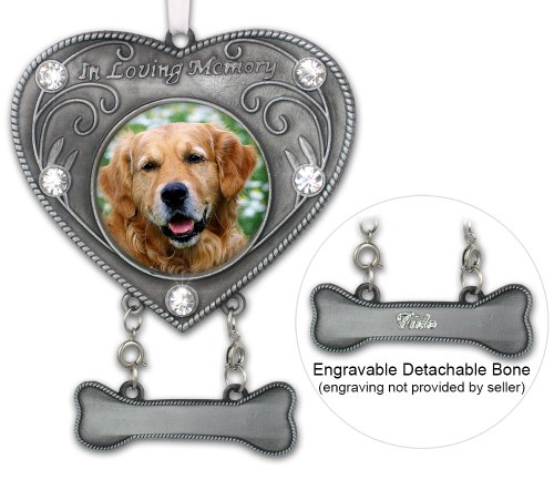 Dog Memorial Photo Ornament - In Loving Memory Dog Ornament - Heart Shaped Photo Ornament with Crystals - Dog Sympathy Gift - Dog Remembrance - Dog Bereavement (Ornaments Memorial Pet)