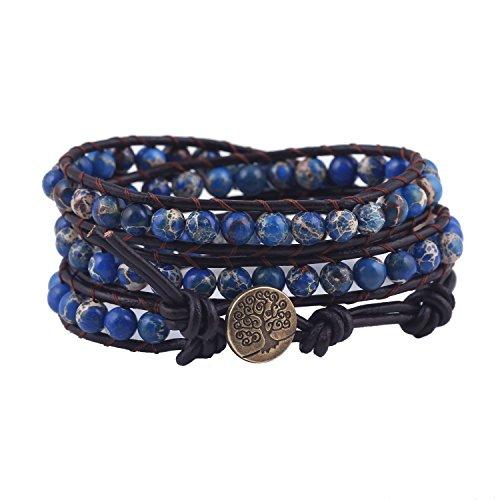 (Bonnie Tree of Life Bracelet For Women Imperial Jasper Bead Leather Wrap (Jasper))