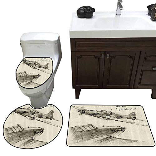 - 3 Piece Large Contour Mat Set Airplane Decor Hand Drawn Series of Soviet Military Enginery Jets Flights World War Aviation Sketch Elongated Toilet Lid Cover Set Black Ecru