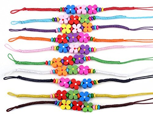 Dastan 2PC Wood Bracelet Colorful Flower Beads Wristband Braided Rope