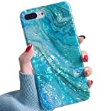 Electronics : YeLoveHaw iPhone 8 Plus / 7 Plus Case for Girls, Glitter Pearly-Lustre Translucent Shell Texture with Quicksand Pattern Phone Case [Flexible, Slim Fit, Full Protective] for iPhone 7Plus / 8Plus(Blue)
