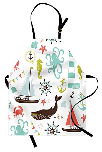 Ambesonne Nautical Apron, Pastel Colored Composition of Lighthouse Sailboat Fish Shells Octopus and Anchor, Unisex Kitchen Bib with Adjustable Neck for Cooking Gardening, Adult Size, Coral Turquoise