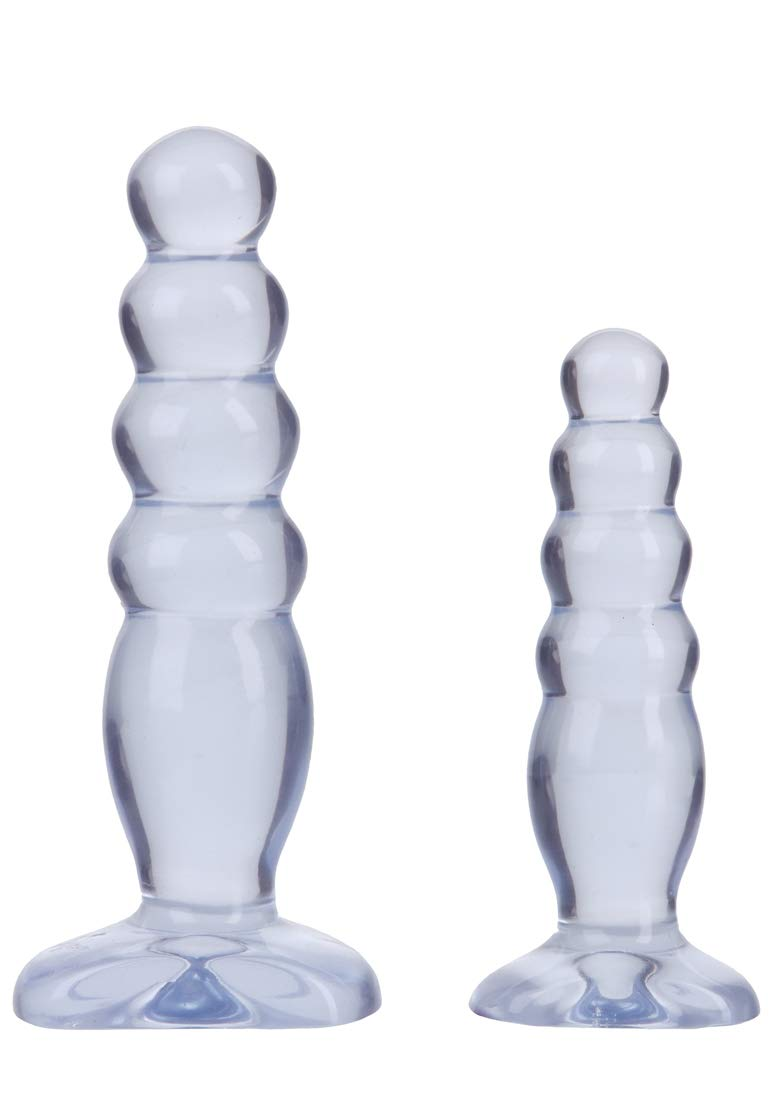 Doc Johnson Crystal Jellies - Anal Delight Trainer Kit - Small-Large - Suction Cup Base - Clear