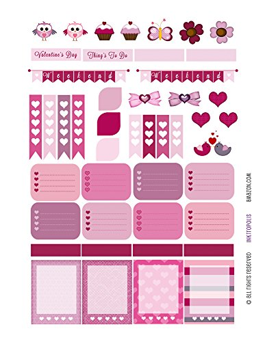 Valentines Day Sampler Monthly Planner Stickers Labels Compatible with Erin Condren Vertical Life Planner