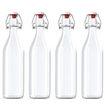 4 botellas de cristal con cierre fácil de abrir, botellas ...