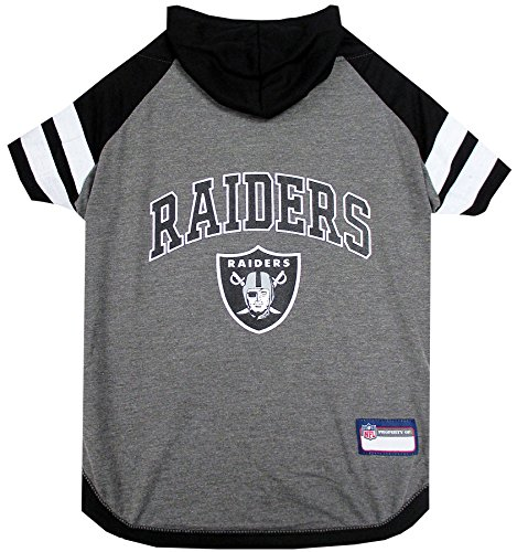 NFL Oakland Raiders Hoodie for Dogs & Cats. | NFL Football Licensed Dog Hoody Tee Shirt, Large| Sports Hoody T-Shirt for Pets | Licensed Sporty Dog Shirt.