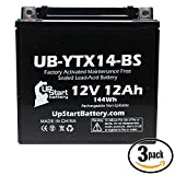 3-Pack Replacement 2005 Kawasaki ZX-12R 1200 CC Factory Activated, Maintenance Free, Motorcycle Battery - 12V, 12AH, UB-YTX14-BS