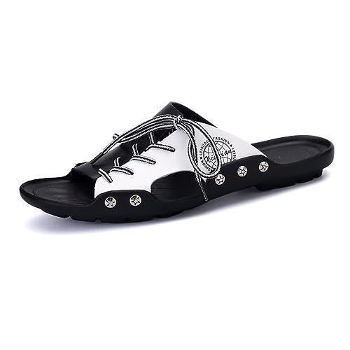 Ocasionales De Pu Con Zapatillas Playa Suela Zapatos Cuero Cordones Blanda Y Antideslizante Para Hombre es Amazon dqqPnxT1t