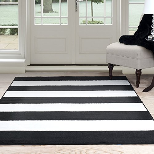 Lavish Home Breton Stripe Area Rug, 5 by 77, Black/White