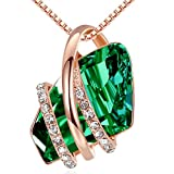 Leafael Wish Stone Pendant Necklace with Green