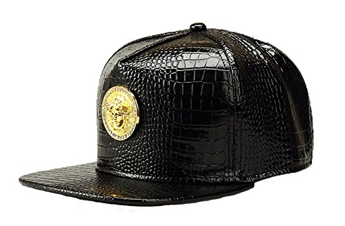 3d Logo Hat (NUKIC Alligator grain Diamond Medusa 3D Metal Logo Serpentine Hat Baseball Cap[Black] )