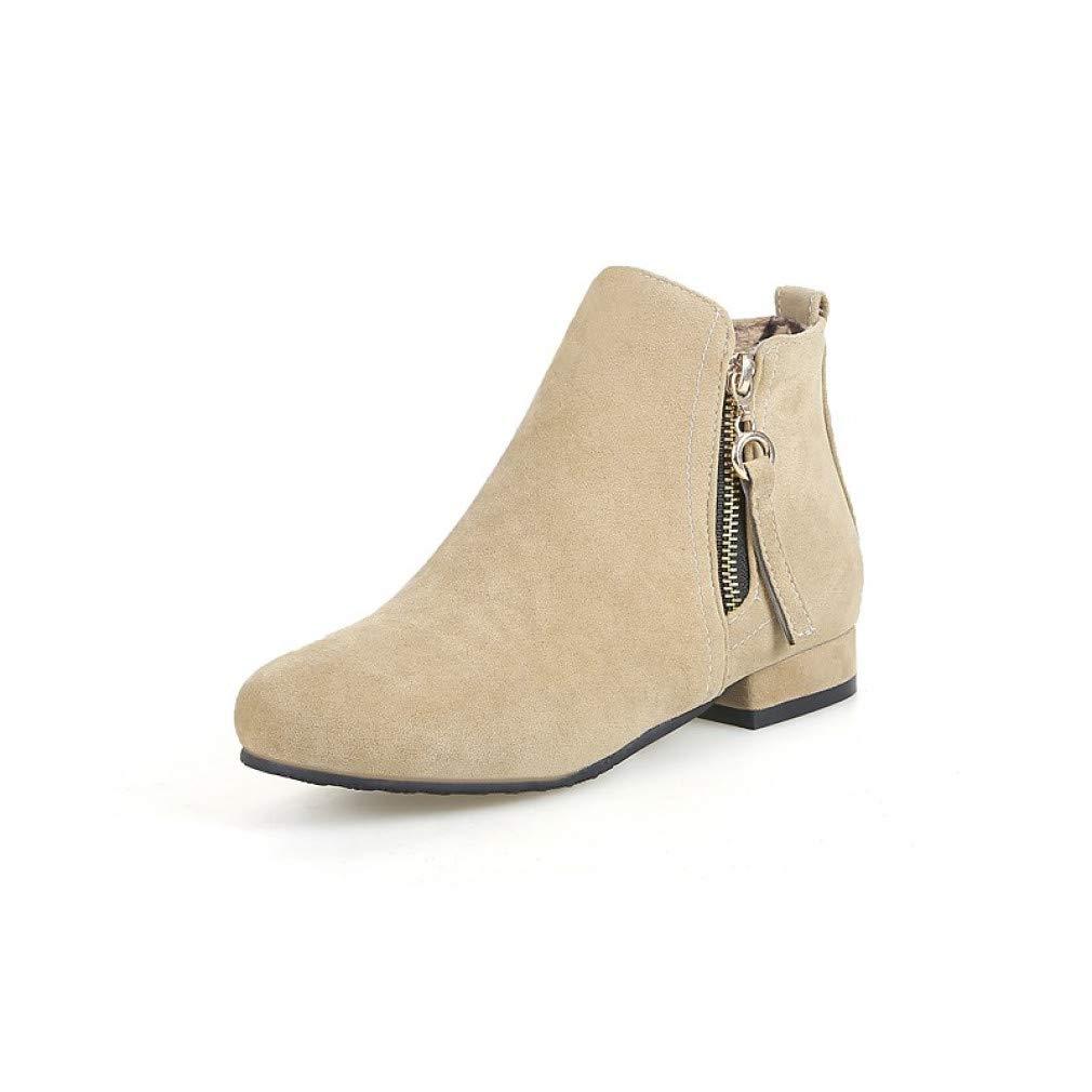 SchuheHAOGE Damen Stiefelie Suede Herbst & Winter Freizeitschuhe Chunky Heel Round Toe Stiefelies/Stiefeletten Schwarz/Beige / Gelb