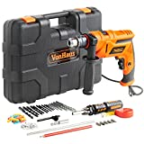VonHaus 710W 13mm Chuck Impact Hammer Corded Drill Driver 87pc HSS Masonry Drill Bit Accessory Kit Variable Speed – Stainless Steel Depth Control Gauge