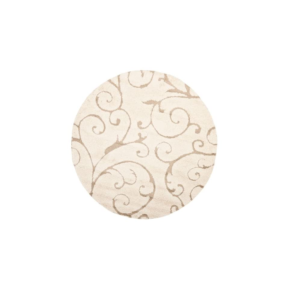 Safavieh Florida Shag Collection SG455 1113 Cream and Beige Shag Round Area Rug, 6 Feet 7 Inch Round