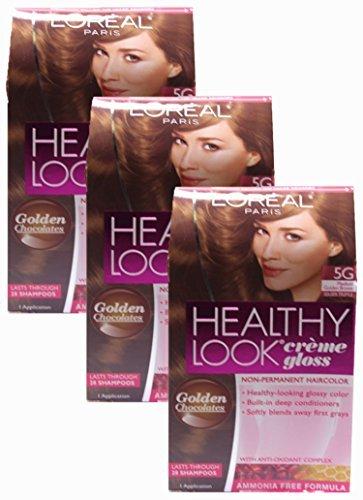 L'oreal Healthy Look Creme Gloss - Medium Golden Brown 5g (Pack of 3) (L Oreal Healthy Look Creme Gloss Color)