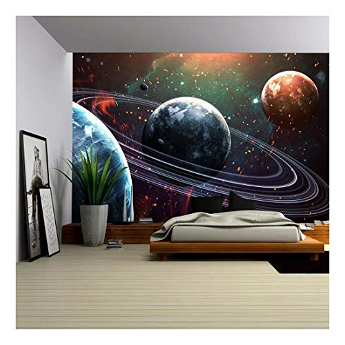 Beauty Wallpaper - wall26 - Universe Scene with Planets, Stars and Galaxies in Outer Space Showing The Beauty of Space Exploration. - Removable Wall Mural | Self-Adhesive Large Wallpaper - 100x144 inches