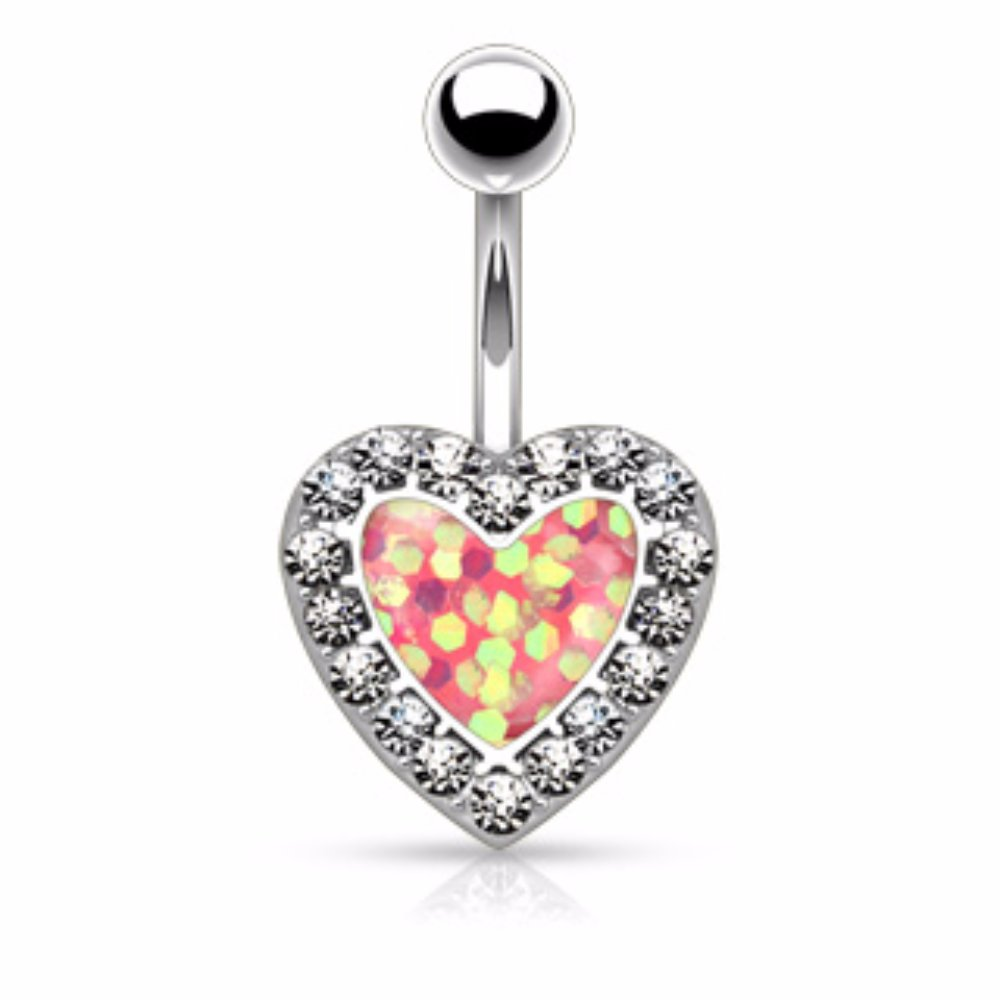 Imitation Opal Glitter Centered Crystal Paved Heart 316L Surgical Steel WildKlass Belly Button Rings Sold by Piece