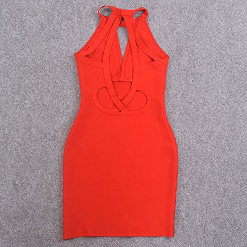 Kleid Frauen Rückenfreie Ansatz Halter HLBandage Verband Rot Schlüsselrozette Kunstseide AqwgUg0d