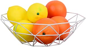 Outdoorfly Creative Fruit Dish Bowl Basket Container Centerpiece Bowl Fruit & Vegetables Storage Basket Fashion Luxury Candy Dish Dry Pots for Living Room, Kitchen, Countertop (Polygon White)