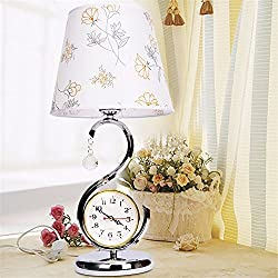 DIDIDD Creative fashion european table lamp bedroom bedside lamp modern simple wedding with clock table lamp,The a button switch