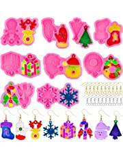 318 Pcs Christmas Earring Resin Molds Silicone Christmas Mold Epoxy Casting Mould Christmas Tree Sock Snowflake Elk Round Ornament Snowman Crutches Shape Jewelry Making Molds with Earring Hook
