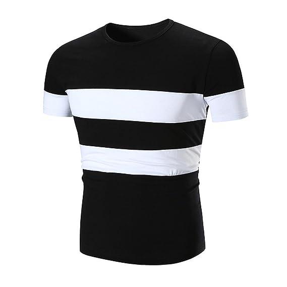 ♚ Hombre Camisa Verano 2018, Rayas Blancas y Negras Casual Patchwork O Neck Pullover Manga Corta Camiseta Top Blusa Absolute: Amazon.es: Ropa y accesorios