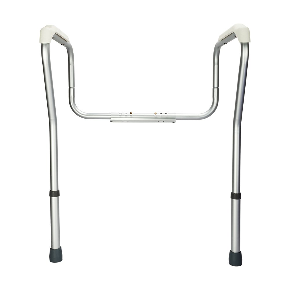 OvMax Toilet Safety Frame, Bathroom Safety Rail with Toilet Seat Assist Handrail Grab Bar, Medical Supply for Elderly, Adjustable Legs and Arm