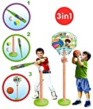 T- Ball Set Baseball Tee & Basketball Hoop for Kids 3-in-1, adjustible T - Starting kit for Toddler - Toy for Boys & Girls Age 3-8 Yrs Old - Perfect to Improve Batting & Aiming Skills