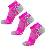Ultra-Comfortable Running Socks - Anti-Blister Dot Technology, Moisture Wicking (Neon Pink/White - 3 Pack, S/M)