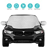 QcoQce Car Windscreen, Magnetic Snow Cover with Two Mirror Covers, Windshield Ice Cover Dust Sun Shade Protector in All Weather (147×120cm)