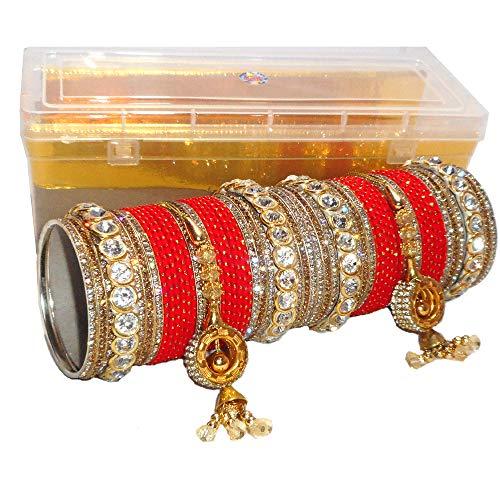 ROYAL BANGLES Red Matte Bridal Bangle Set Cum Chuda for Women (2.4) (B07RKT1SF9) Amazon Price History, Amazon Price Tracker