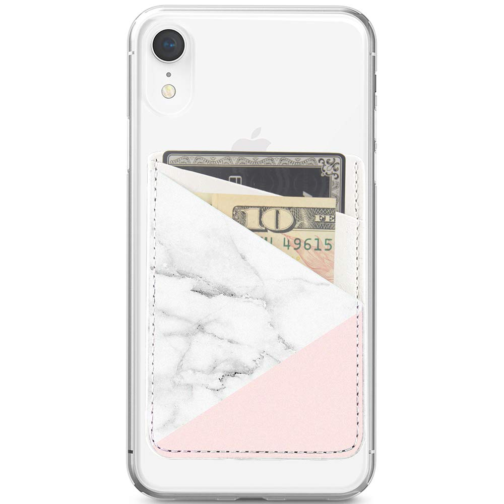 Obbii Baby Pink Marble PU Leather Card Holder for Back of Phone with 3M Adhesive Stick-on Credit Card Wallet Pockets for iPhone and Android Smartphones by Obbii (Image #3)