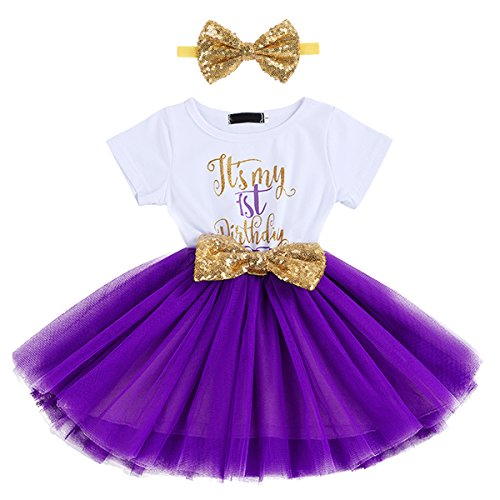 IBTOM CASTLE Baby Girls It's My 1st/2nd Birthday Cake Smash Outfits Shinny Printed Sequin Bow Tutu Princess Dress Clothes Set 2pcs Purple(1 Years) -