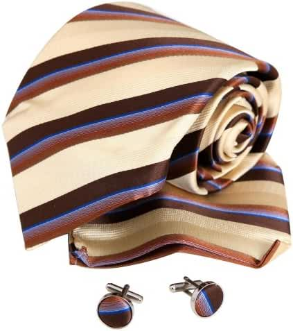 YAC1A13 Sale for Presents Various of Colors Stripes Silk Tie Set 3PT By Y&G