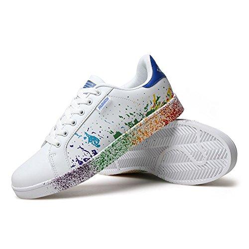 ARKE Männer und Frauen Persönlichkeit Flache Schuhe Druck Casual Sport Skateboard Schuhe Mode Sneaker Blau