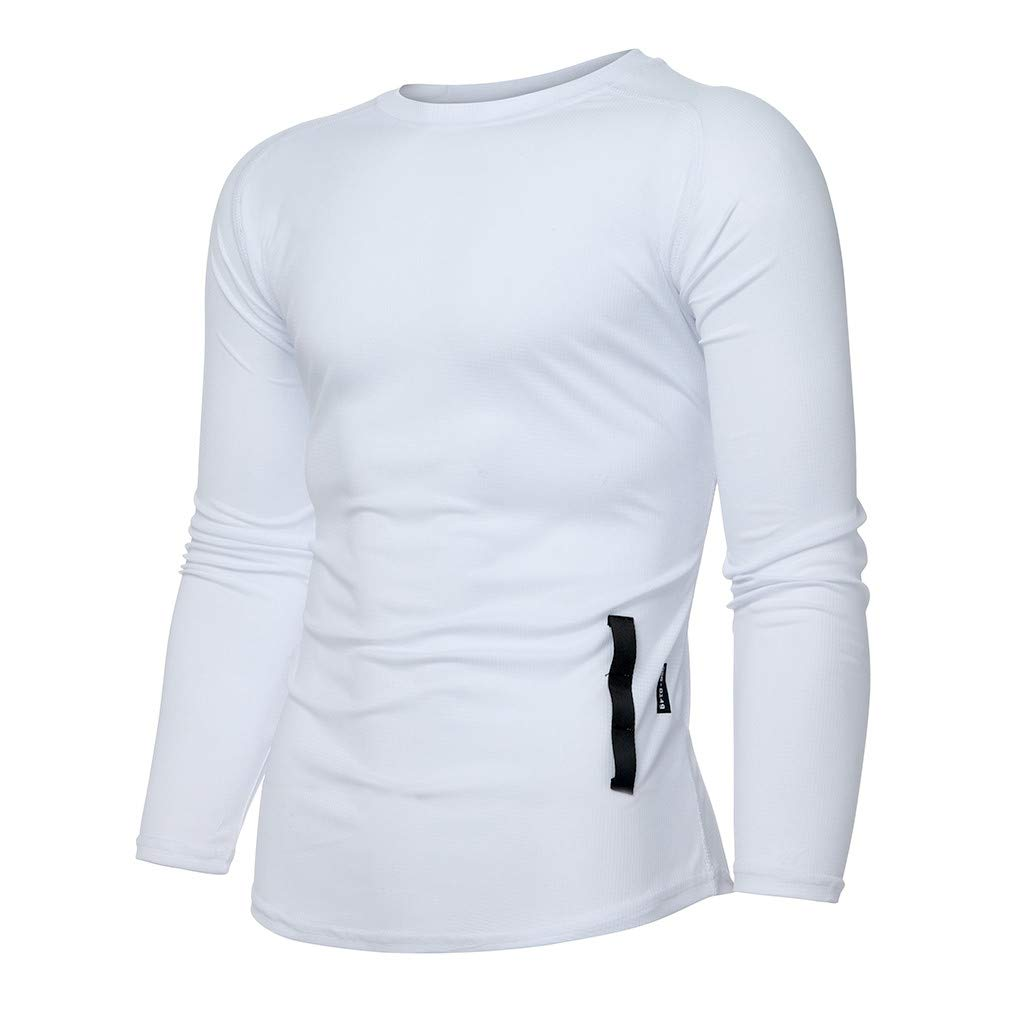 HCFKJ T-Shirt for Men Sports Suit Casual Solid Color Men Jogger Gym Sport T Shirt Fitness Muscle Tee Long Sleeve Tops Blouse Pullover