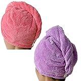 2 Packs sunihome Superfine Fiber Soft Coral Fleece Ultra Absorbent Twist Dry Hair Cap Towel Bath Head Wrap Turban