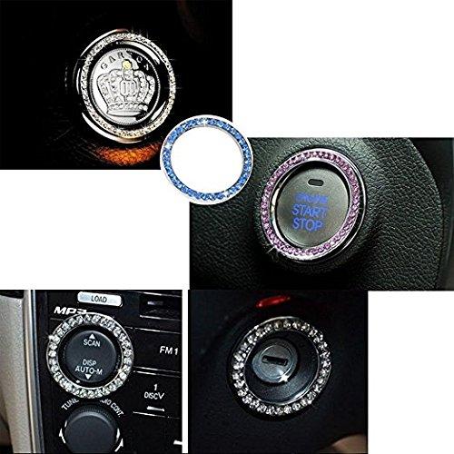 SHINA 1PC Crystal Rhinestone Car Bling Sticker Ring Emblem White Auto Start Engine Ignition Key /& Button Bling Car Decorative