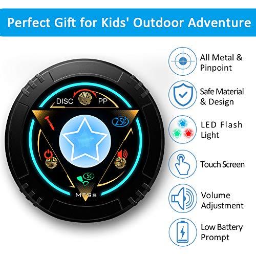 DR.ÖTEK Junior Metal Detector for Kids/Beginner, Exclusive DISC/Pinpoint Mode, Touch Screen, 8.3 Inch Waterproof Coil, Sound Alert, LED Flash Light, Adjustable Stem, Lightweight to Hunt Treasure