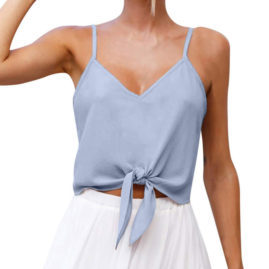 NUWFOR Women's Summer Casual Solid Sleeveless Design Shirt Tank Top Blouse(Blue,US M Bust:33.1-34.6'')