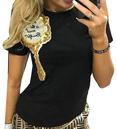 Shiny Roof (NQ Women Gold Shiny Sequin Short Sleeve Slim Blouse Tops Black M)