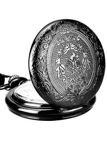 Black Quartz Pocket Watch - Mudder Vintage Stainless Steel Quartz Pocket Watch Chain (Black)