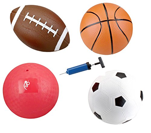 Set of 4 Inflatable Sports Balls for Kids (Soccer Ball, Basketball, Football, Volleyball) with Pump By Bo -