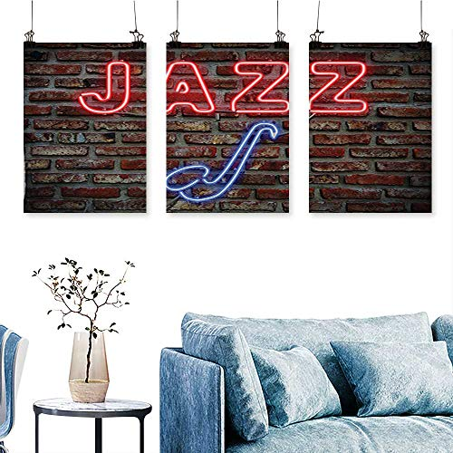 (SCOCICI1588 Three Consecutive Painting Frameless Image Bright Neon All Jazz Sign with Saxophone on Brick Wall Artwork for Wall Decor Triptych 30 INCH X 60 INCH X)