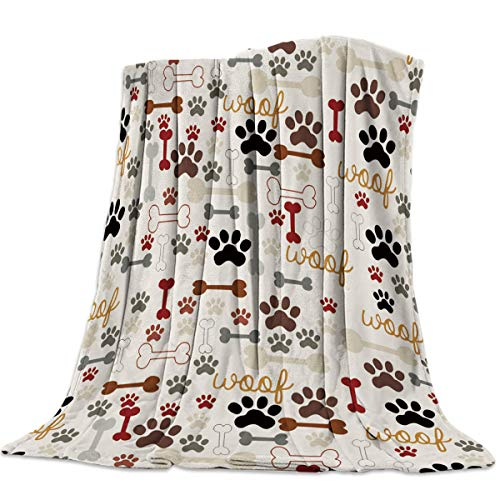 Heart Pain Cartoon Dog Paws Prints Vintage Flannel Fleece Throw Blanket All Season Home Decorative Warm Plush Cozy Soft Blankets for Chair/Bed/Couch/Sofa (39