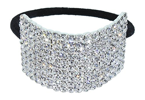 Rhinestone Ponytail Holder by Crystal Avenue | Stretchy Elastic Hair Tie | Silvertone with Sparkling Crystals ()