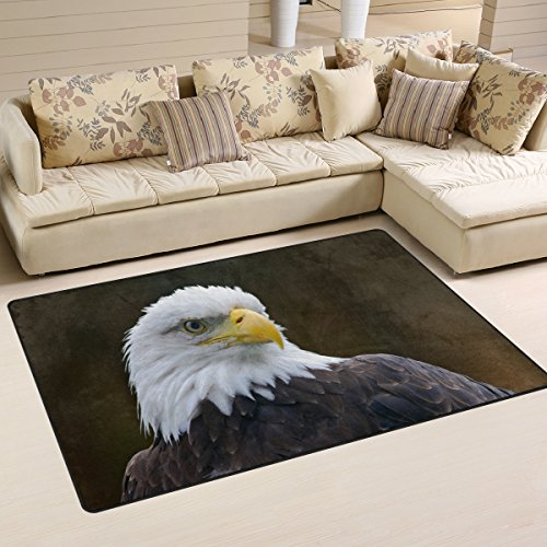 American Bald Eagle Print Playmat Floor Mat For Dining Room Living Room Bedroom,Size 2'7